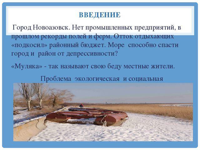 ВВЕДЕНИЕ Город Новоазовск. Нет промышленных предприятий, в прошлом рекорды по...