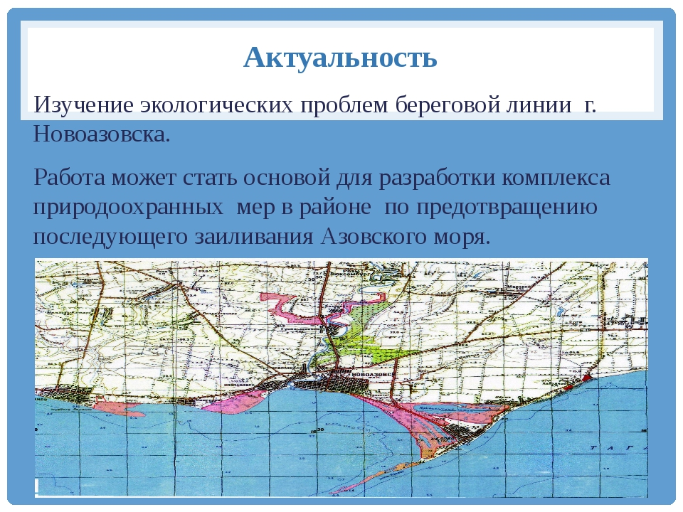 Актуальность Изучение экологических проблем береговой линии г. Новоазовска. Р...