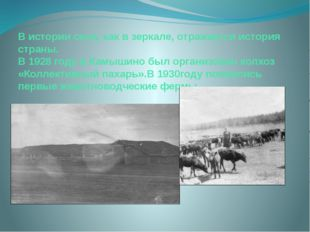 В истории села, как в зеркале, отражается история страны. В 1928 году в Камыш