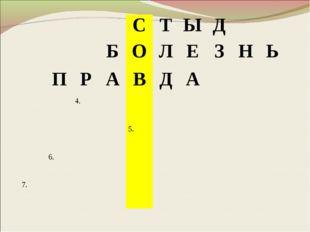 СТЫД БОЛЕЗНЬ ПРАВДА 4. 5. 6. 7.