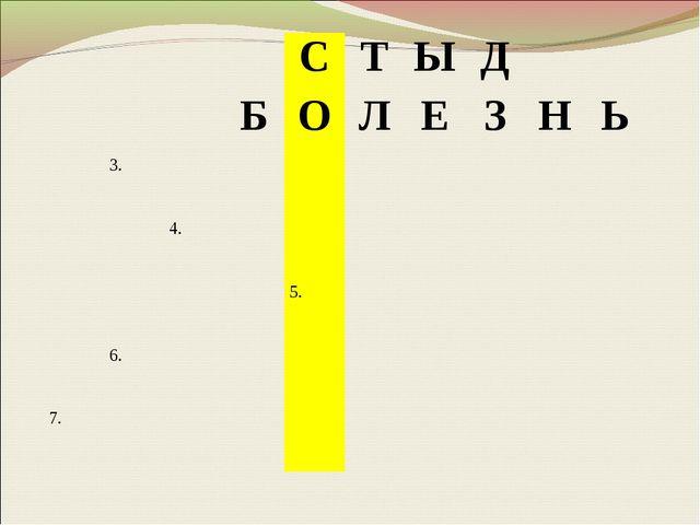 СТЫД БОЛЕЗНЬ 3. 4. 5. 6. 7.