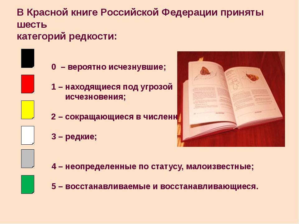 В Красной книге Российской Федерации приняты шесть категорий редкости: 0 – ве...