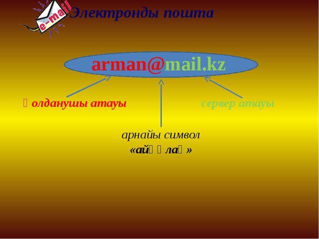Электронды пошта қолданушы атауы arman@mail.kz сервер атауы арнайы символ «ай...
