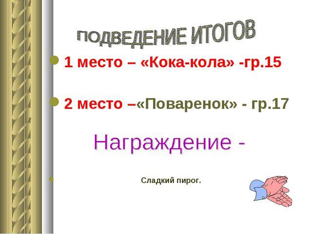 1 место – «Кока-кола» -гр.15 2 место –«Поваренок» - гр.17 Сладкий пирог.