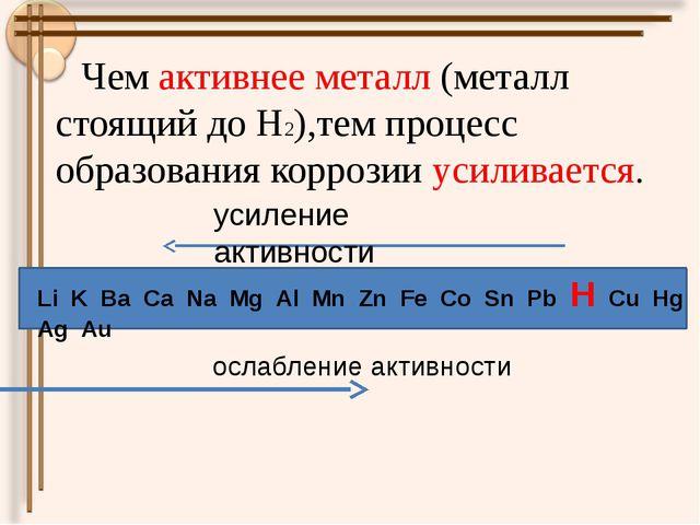 Чем активнее металл (металл стоящий до Н2),тем процесс образования коррозии...
