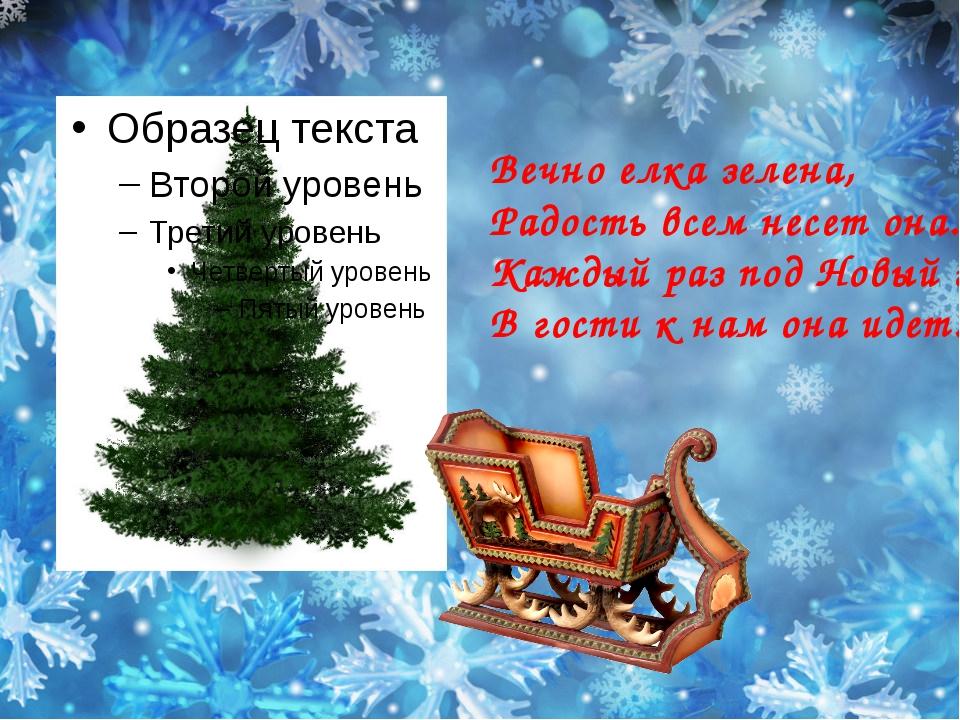 Вечно елка зелена, Радость всем несет она. Каждый раз под Новый год В гости к...