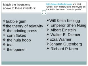 Match the inventions above to these inventors: bubble gum the theory of relat
