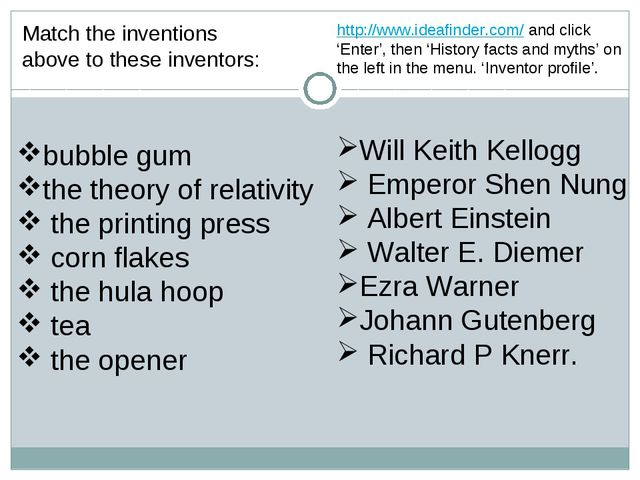 Match the inventions above to these inventors: bubble gum the theory of relat...