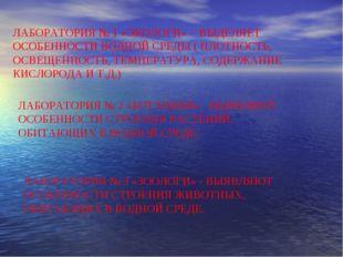 ЛАБОРАТОРИЯ № 1 «ЭКОЛОГИ» - ВЫДЕЛЯЕТ ОСОБЕННОСТИ ВОДНОЙ СРЕДЫ ( ПЛОТНОСТЬ, ОС