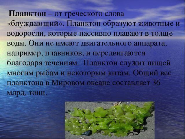 Планктон – от греческого слова «блуждающий». Планктон образуют животные и во...