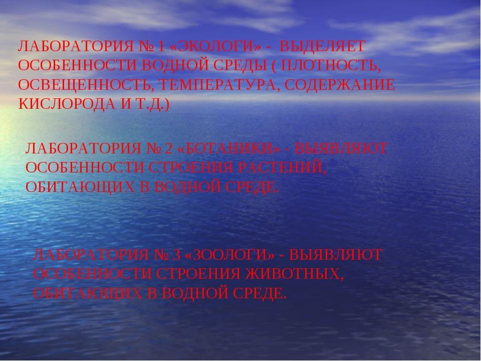 ЛАБОРАТОРИЯ № 1 «ЭКОЛОГИ» - ВЫДЕЛЯЕТ ОСОБЕННОСТИ ВОДНОЙ СРЕДЫ ( ПЛОТНОСТЬ, ОС...