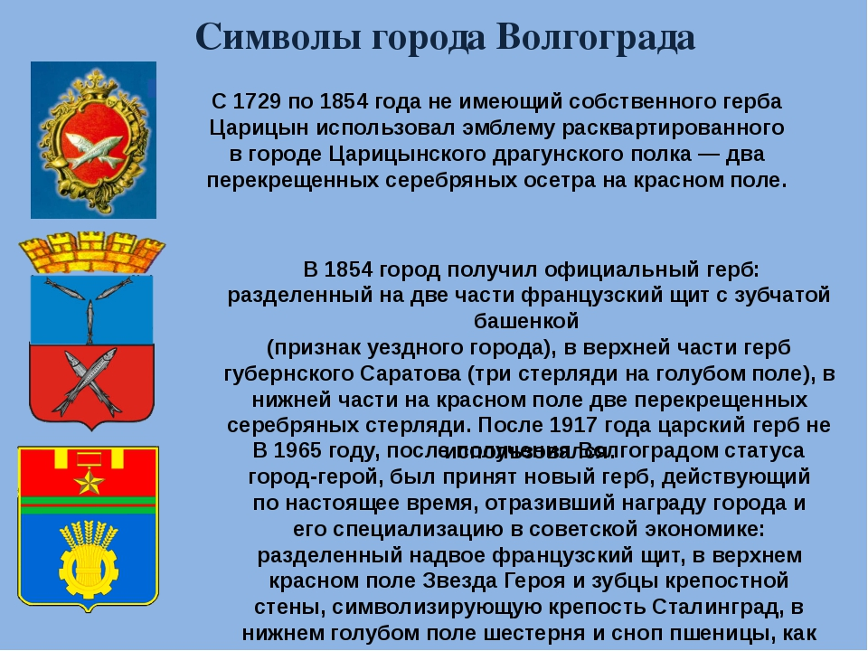 Символы города Волгограда С 1729 по 1854 года не имеющий собственного герба Ц...