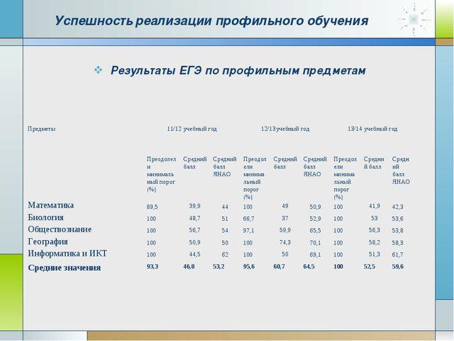Результаты ЕГЭ по профильным предметам Успешность реализации профильного обуч...