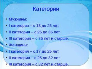 Категории Мужчины: I категория – с 18 до 25 лет, II категория – с 25 до 35 л