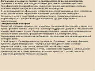 Организация и оснащение предметно-пространственной развивающей среды Окружени