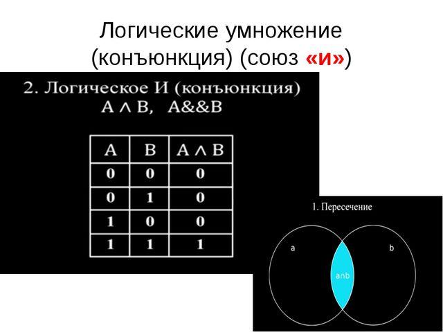 Логические умножение (конъюнкция) (союз «и») Высказывание А и В истинно тогда...