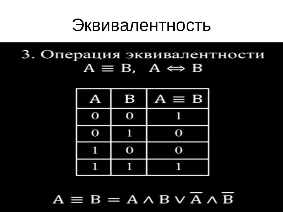 Эквивалентность Эквивалентность истина, тогда и только тогда, если значение о...