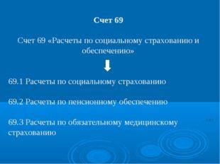 Счет 69 Счет 69 «Расчеты по социальному страхованию и обеспечению» 69.1 Расче