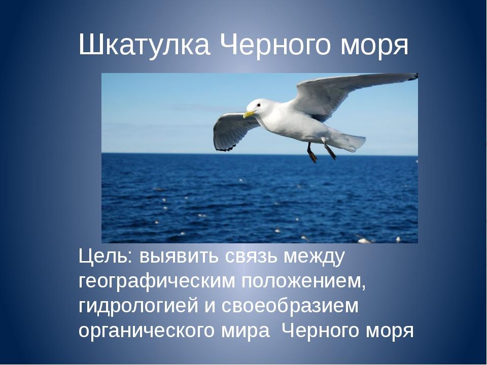 Шкатулка Черного моря Цель: выявить связь между географическим положением, ги...
