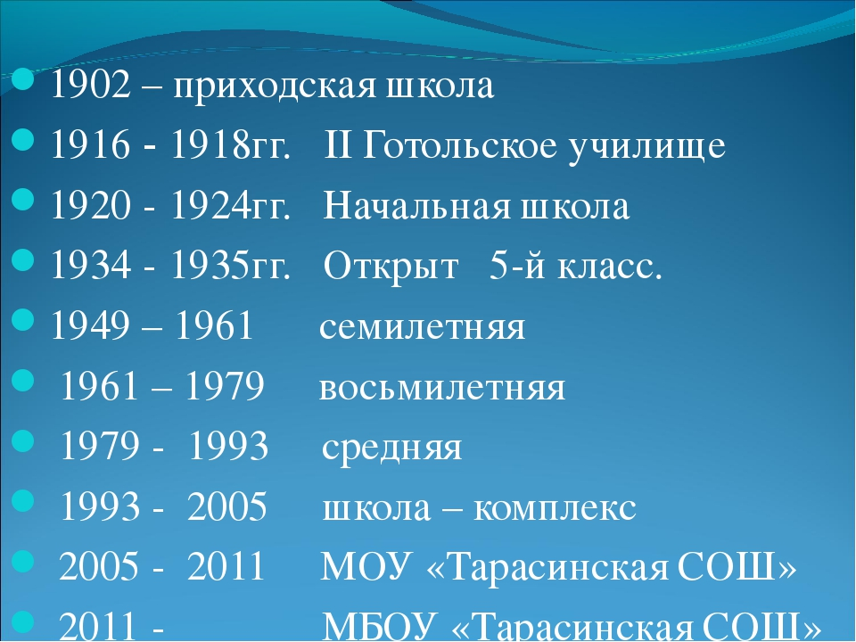 1902 – приходская школа 1916 - 1918гг. II Готольское училище 1920 - 1924гг. Н...