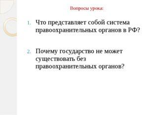 Вопросы урока: Что представляет собой система правоохранительных органов в РФ