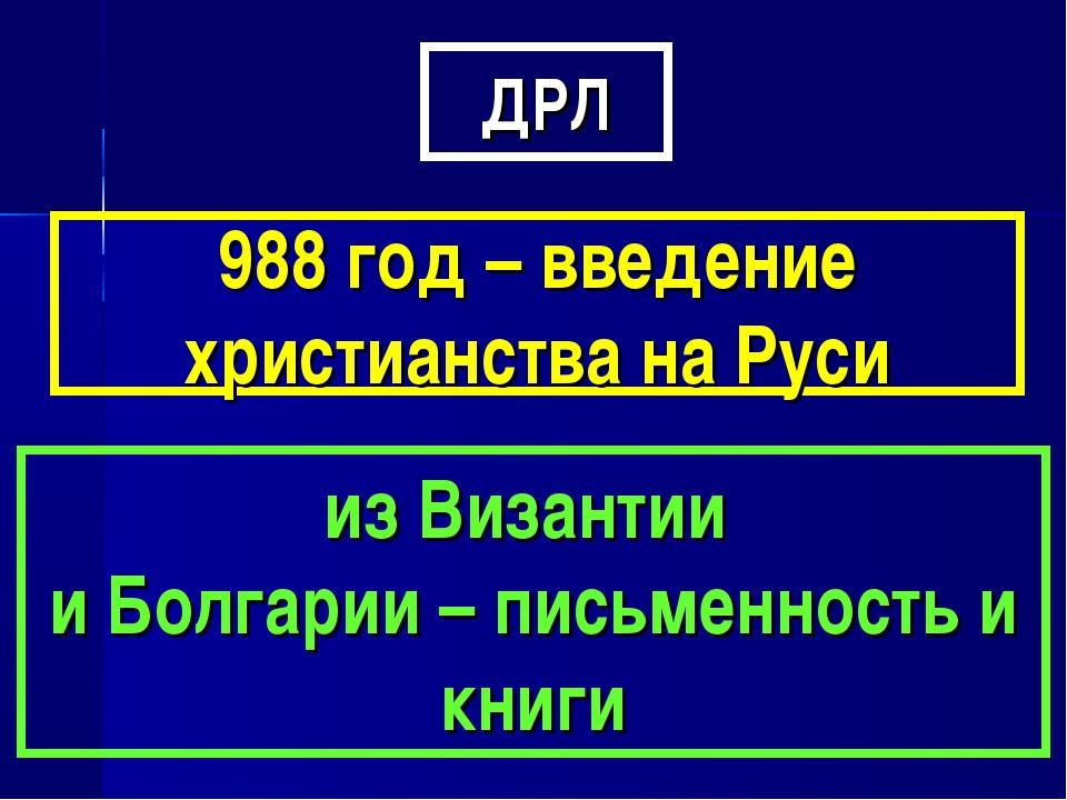 ДРЛ 988 год – введение христианства на Руси из Византии и Болгарии – письменн...