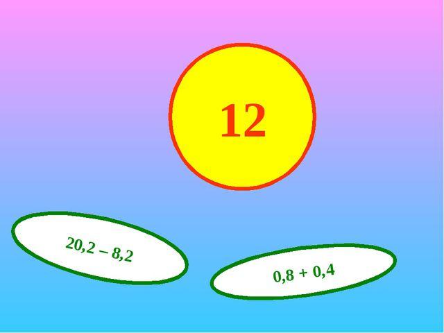 12 20,2 – 8,2 0,8 + 0,4