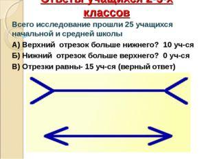 Ответы учащихся 2-5-х классов Всего исследование прошли 25 учащихся начальной