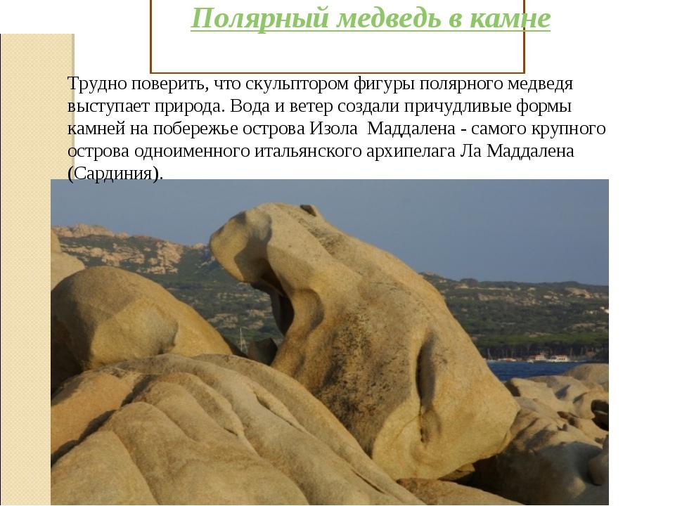 Полярный медведь в камне Трудно поверить, что скульптором фигуры полярного ме...