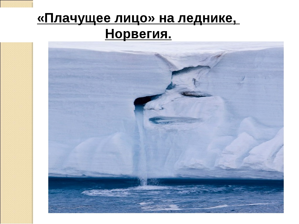 «Плачущее лицо» на леднике, Норвегия.