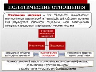 Политические отношения – это совокупность многообразных, многоуровневых взаи