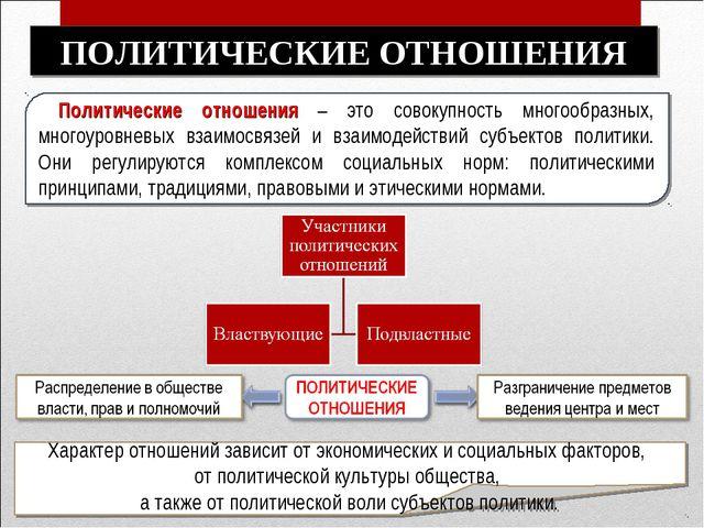 Политические отношения – это совокупность многообразных, многоуровневых взаи...