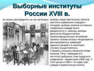 Выборные институты России XVIII в. Их можно распределить на три категории: вы