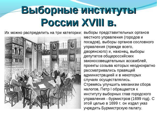 Выборные институты России XVIII в. Их можно распределить на три категории: вы...