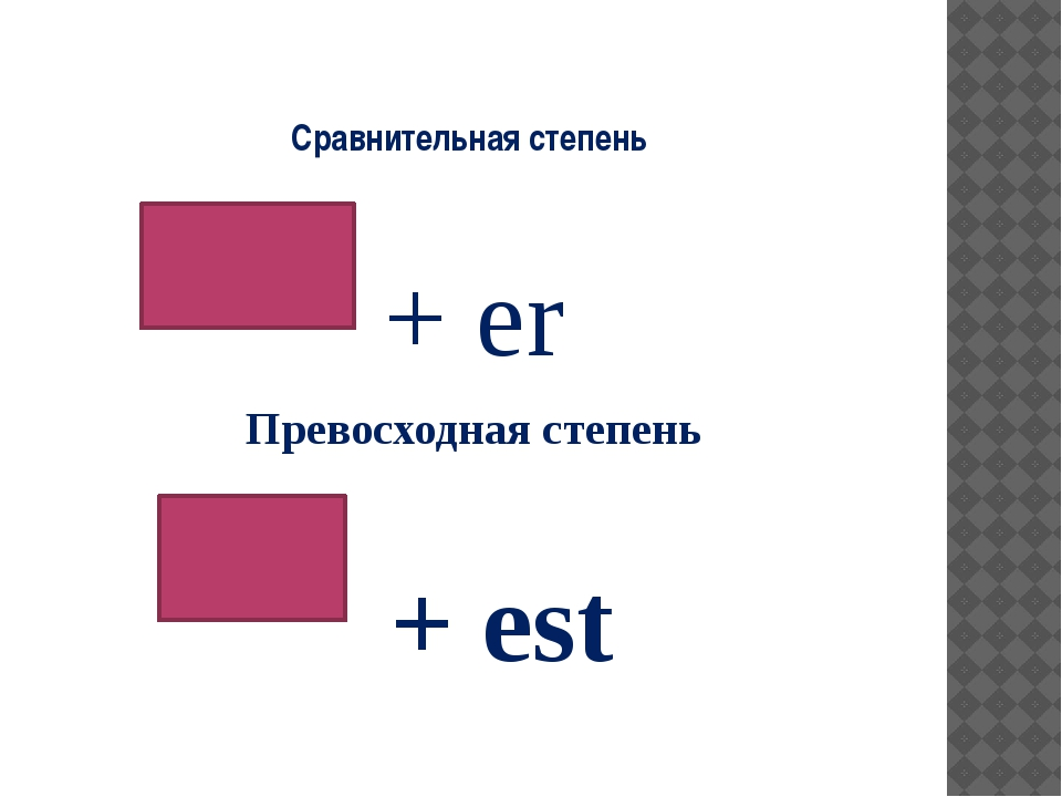 Сравнительная степень + er Превосходная степень + est
