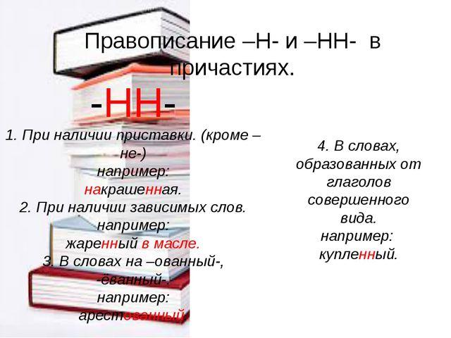 Правописание –Н- и –НН- в причастиях. -НН- 1. При наличии приставки. (кроме –...