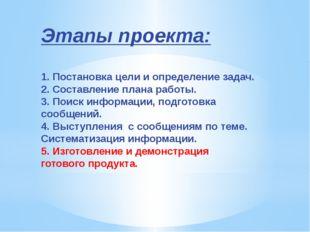 Этапы проекта: 1. Постановка цели и определение задач. 2. Составление плана р