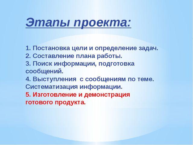 Этапы проекта: 1. Постановка цели и определение задач. 2. Составление плана р...