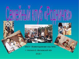 МБОУ Всеволодовская сош №42, г. Ногинск-5, Московской обл 2016 г
