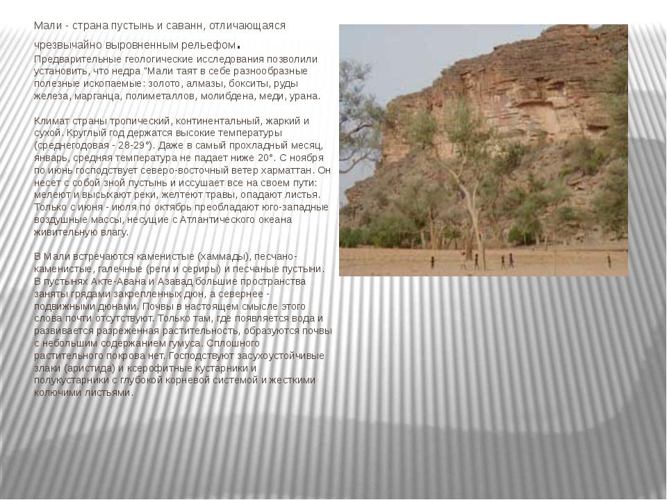 Мали - страна пустынь и саванн, отличающаяся чрезвычайно выровненным рельефом...