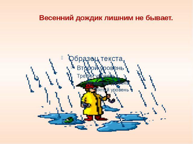 Весенний дождик лишним не бывает.