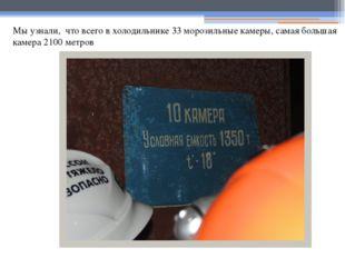 Мы узнали, что всего в холодильнике 33 морозильные камеры, самая большая каме