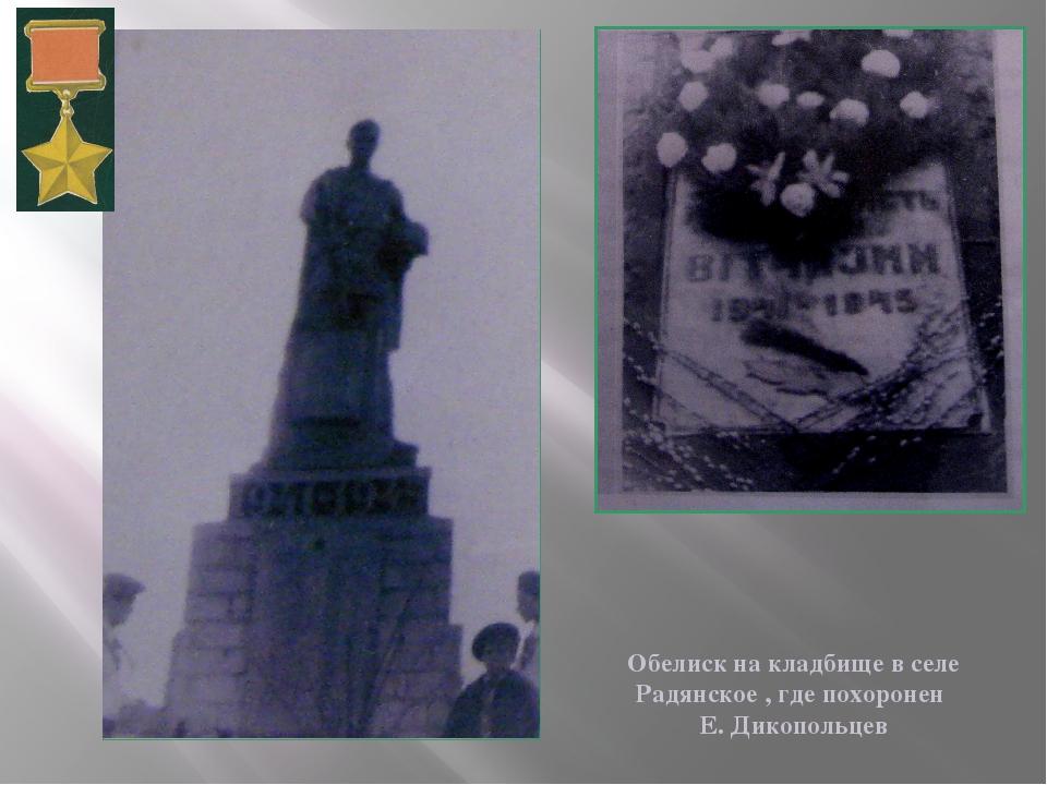 Обелиск на кладбище в селе Радянское , где похоронен Е. Дикопольцев