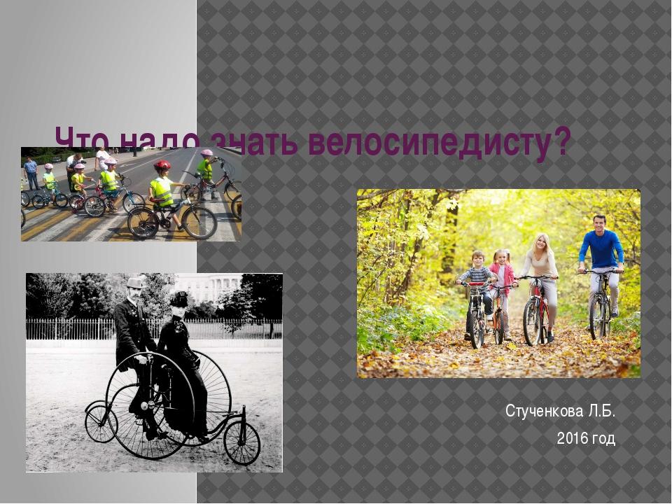 Что надо знать велосипедисту? Стученкова Л.Б. 2016 год