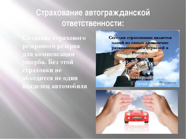 Страхование автогражданской ответственности: Создание страхового резервного р...