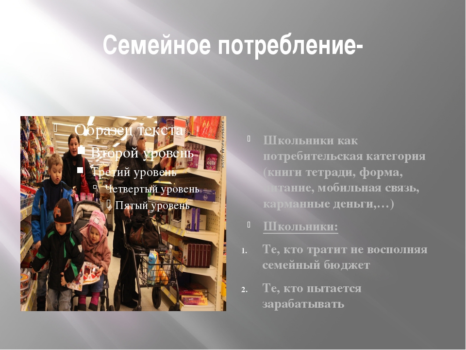 Семейное потребление- Школьники как потребительская категория (книги тетради,...