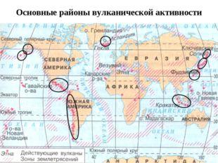 Основные районы вулканической активности