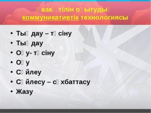 Қазақ тілін оқытудың коммуникативтік технологиясы Тыңдау – түсіну Тыңдау Оқу-