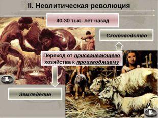 II. Неолитическая революция 40-30 тыс. лет назад Переход от присваивающего хо