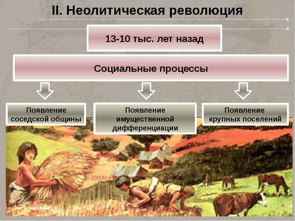 II. Неолитическая революция 13-10 тыс. лет назад Социальные процессы Появлени...